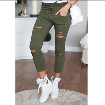 Women's Stretch Faded Ripped Jeans