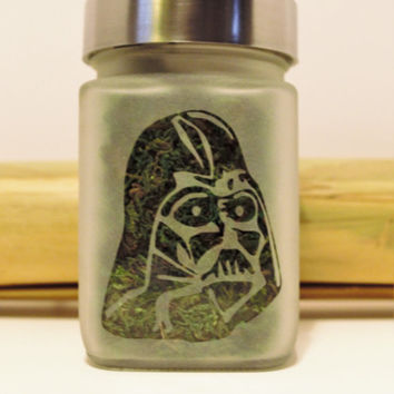 Darth Vader Etched Glass Air Tight Stash & Herb Storage Jar - Star Wars Inspired - Birthday Gifts for Him - Novelty Gift for Smokers