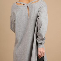 Fall Light Sweater with Criss Cross Back - Heather Gray