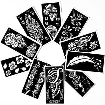 Tattoo Stencil (10 Sheet) Henna Designs Temporary Tattoo / Self-Adhesive Temple