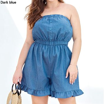Women's New Casual Wrapped Chest Ruffled Wide Legs Large Size Denim Jumpsuit