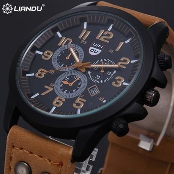 New 2017 Fashion Gold Quartz Watch Men Military Leather Strap Watches Luxury Brand Casual Relogio Masculino Wristwatches Brown