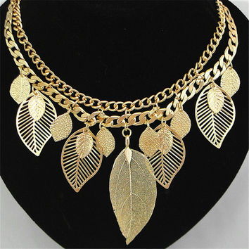 Chokers Necklace Zinc Alloy metal Leaves Gold Chain Trendy Style Women Jewelry Bijoux Colier Choker Collar Big Chunky Necklaces
