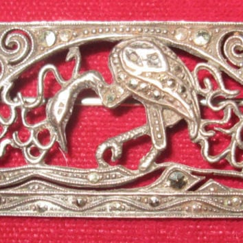 Art Deco Sterling Silver Brooch / Marcasite Flamingo Pin / 30s Brooch / Gorgeous / Germany