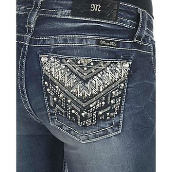 Miss Me Women's Dark Wash with Embellished Open Pockets Boot Cut Jeans