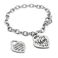 """Mom"" Engraved Heart Charm Stainless Steel Bracelet - 7.5"""