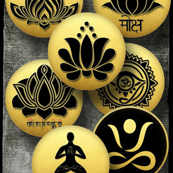"""Yoga Lotus - Printable Images - 4"""" circles - Digital Collage Sheets for Paperweights, Stickers, Magnets, Jewelry - Digital Downloads CG-985L"""
