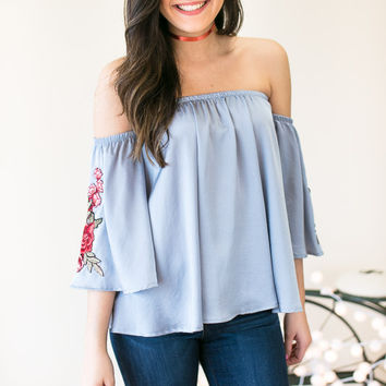 Be the Light Embroider Sleeve Off Shoulder Top