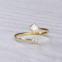 """Knuckle Ring, Cubic Zirconia Ring, Gold Stacking Ring, Pinky Ring, Gold Ring, Infinity Ring, Bridesmaid ring, Adjustable ring, """"Thisbe"""""""