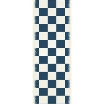 English Checker Design  Size Rug: 2ft x 6ft blue & white colors