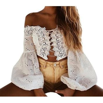 Gypsy Lace Up Long Sleeve Strapless Blouse