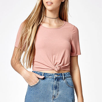 LA Hearts Tie Front Ribbed T-Shirt at PacSun.com