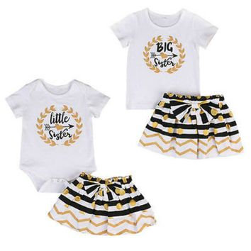 Arrows - Big Sister Shirt Little Sister Romper Skirt Sibling outfit, 2-Pc Set