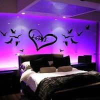 LOVE PEACE BIRDS HEART VINYL BEDROOM WALL ART
