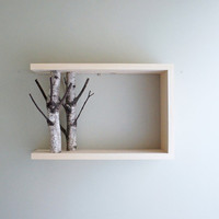 white birch forest wall art/shelf - 18x12x5.5 - made to order