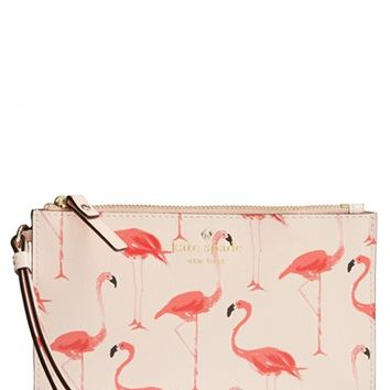 Women's kate spade new york 'cedar street - flamingos slim bee' wristlet - White
