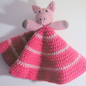 Pink Piggy Lovey PDF Crochet Pattern INSTANT DOWNLOAD