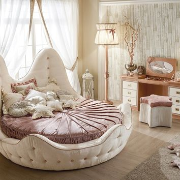 Round bed with tufted headboard STELLA MARINA | Upholstered bed by Caroti