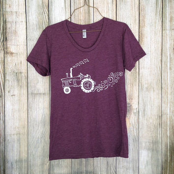 Womens Fitted T Shirt - Tractor Love - S M L XL - Hand Screen Printed On American Apparel