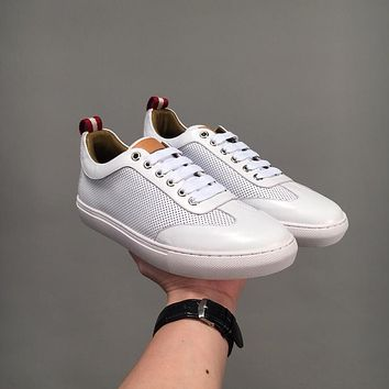 Bally Hendrik Men's Perforated Calf Leather Trainer In White Sneakers Shoes - Sale