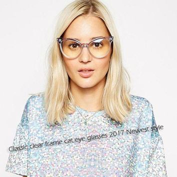 DCCKU7Q ROYAL GIRL Hot New Transparent Cat Eye Glasses Women Sexy Eyeglasses Fashion Optical ClearLens Glasses ss222