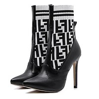 """Hot Sale """"FENDI"""" Autumn Winter Popular Woman Knit Socks Boots Pointed High-Heeled Shoes White/Black"""