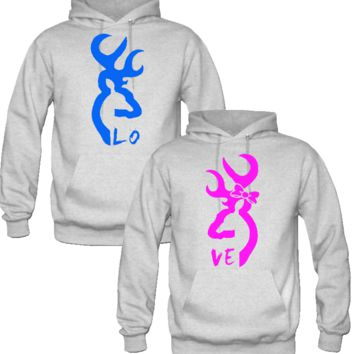 Browning Deer Love Couple Hoodies