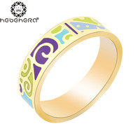 Newest Ring Thin 0.6cm Width Rose Gold Ribbon Abstract Pattern Design Enamel Jewelry Ring, 1 Piece/pack R4