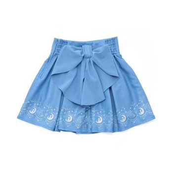 2016 Summer Cute Girls Skirts Anime Sailor Moon 20th Anniversary Skirt Cat Lolita Kawaii Sweet Skirts Women Clothes Preppy Style