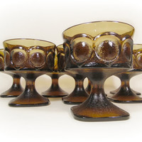 Vintage Brown Glassware SET Noritake Spotlight Champagne Glasses Coupe Stemware Tall Sherbet Dessert Cups Retro Kitchen Mid Century Home