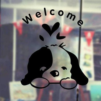 cute dog welcome to home stickers wall decoration 348. diy vinyl adesivos de paredes door sign window decal mual art pet poster