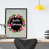 HELLO SPRING *** #artprint #floral #girly #wall #home #decor #stripes #spring #pink #lettering