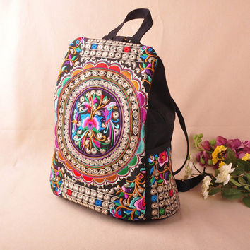 Canvas Embroidery Ethnic National Trend Backpack Women Handmade Flower Travel Bag
