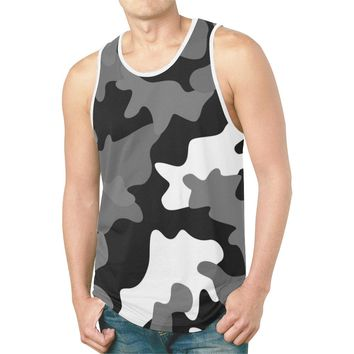Black & White Camouflage Camo Tank Top For Men