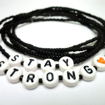 Stay Strong Bracelet Set, Black Seed Bead Stretch Jewelry