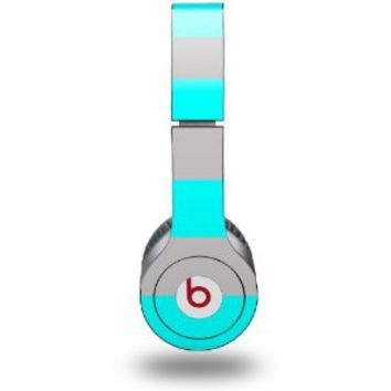 Kearas Psycho Stripes Neon Teal and Gray Decal Style Skin - fits genuine Beats Solo HD Headphones (HEADPHONES NOT INCLUDED)