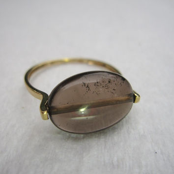 14k Yellow Gold 585 Modern Smoky Smokey Quartz Large Cabochon Vintage Estate November Birthstone Ring