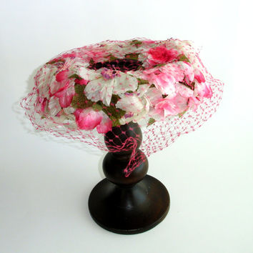 Vintage Flower Garland Hat, Pink Open Crown Halo Hat, Birdcage Veil Netting, 60s Mid Century Hat, Amy of New York, Garden Hat, Ladies Hat