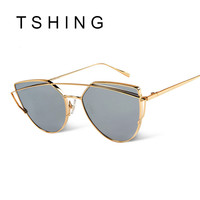 New Cat Eye Sunglasses Women Vintage Fashion Rose Gold Mirror Sun Glasses Unique Flat Ladies Sunglasses