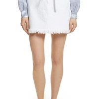 FRAME Le High Fray Hem Belted Denim Skirt (Blanc) | Nordstrom