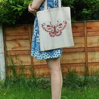 Tote Bag, reusable tote bag, cotton tote bag, fabric tote bag, Butterfly tote