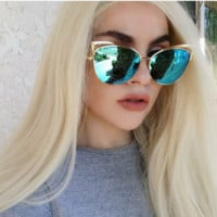 Naomi Blue Cat Eye Mirrored Sunglasses