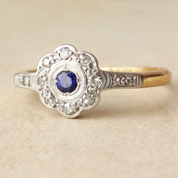 Art Deco Sapphire & Diamond Lacy Flower Engagement Ring, Antique Sapphire Platinum 18k Gold Ring, Approx Size US 6.25
