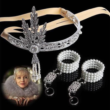 The Great Gatsby DAISY Crystals Pearl Tassels Hair Hoop Headband Bracelet Set
