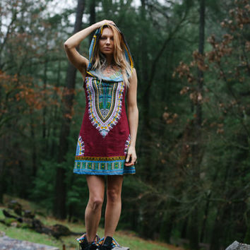 Short Day Tripper Hoodie Dress, Caravan Purple, Festival, Hippie, Gypsy, Wanderlust, Psy, Boho, Tribal, Navajo, Mini Dress