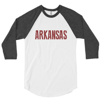 Arkansas 3/4 sleeve raglan shirt | The Inked Elephant