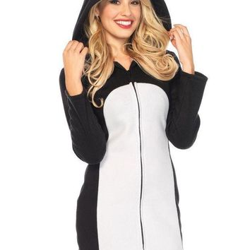 Batz Maru Cozyzipper Front Fleece Dress W/hood In Black/white