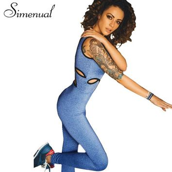 Simenual 2017 Cut out one piece rompers womens jumpsuit bodysuit bandage fitness slim sexy sleeveless  tanks long overalls women