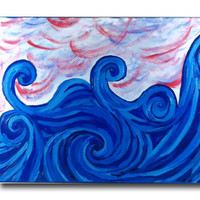 Blue Ocean Waves Painting , Acrylic Painting , 18 x 24