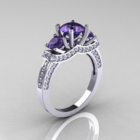 French 18K White Gold Three Stone Alexandrite by artmasters